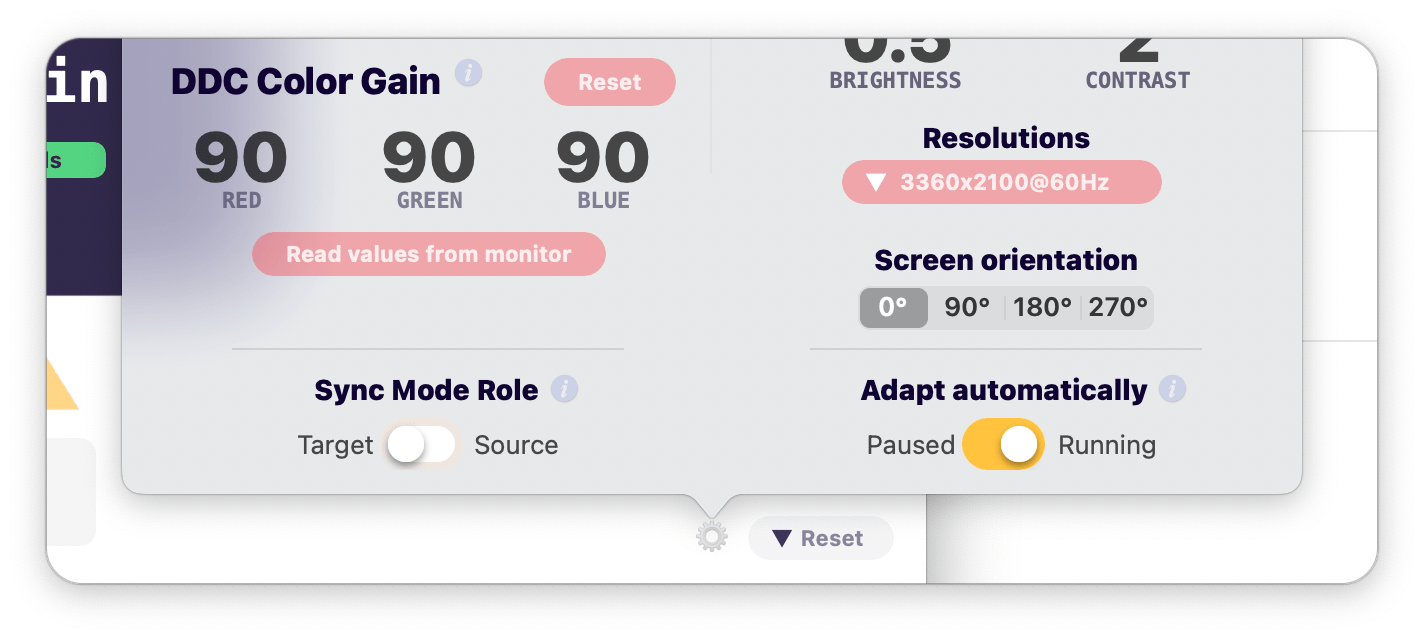 gear icon menu new controls