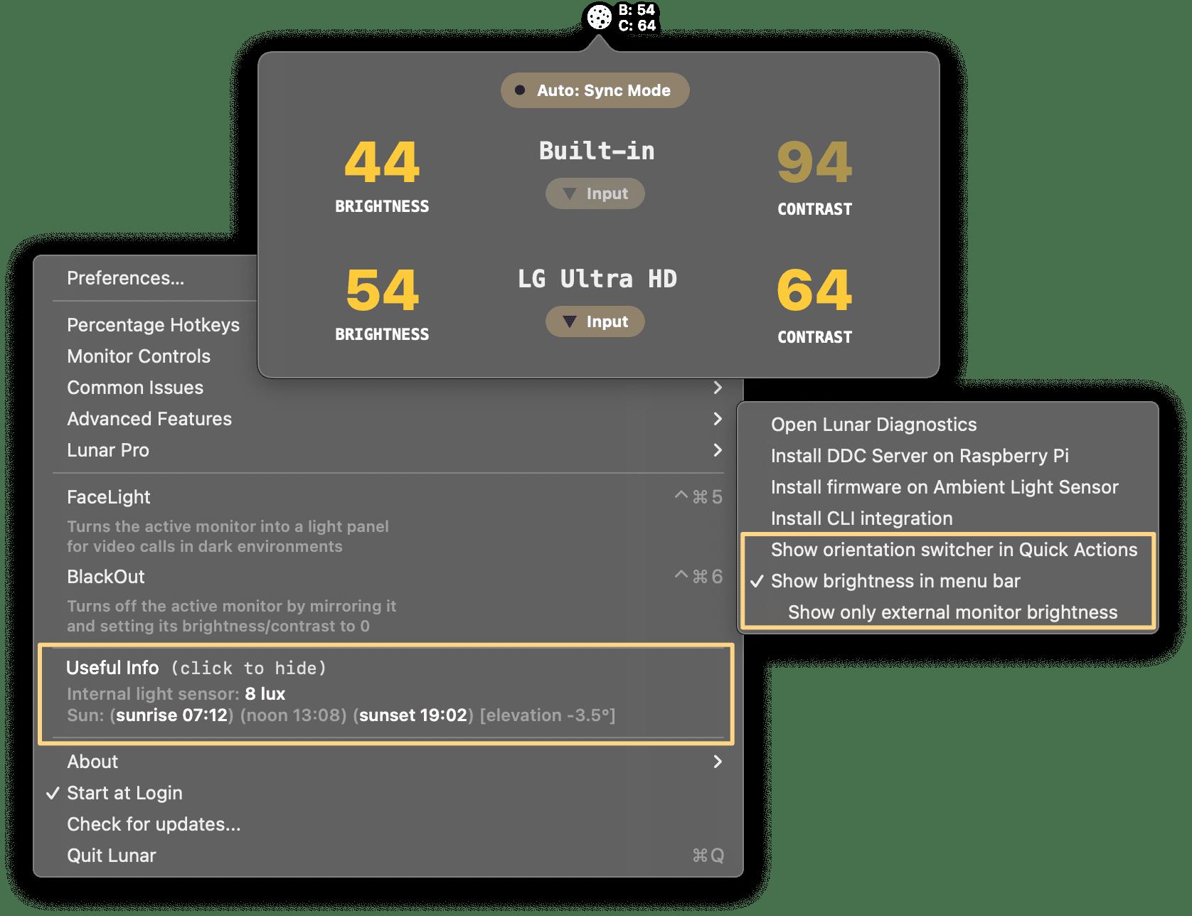 menu bar improvements